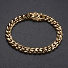 10mm Stainless Steel Curb Cuban Link Chain Hip Hop Punk Heavy Gold Color Necklace For Men 7-10 inch