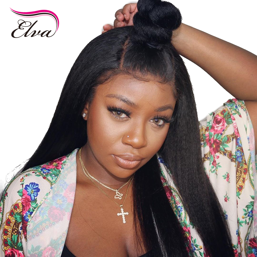 13x6 Lace Front Human Hair Wigs For Black Women Kinky Straight Lace Front Wig Pre Plucked With Baby Hair Brazilian Remy Hair