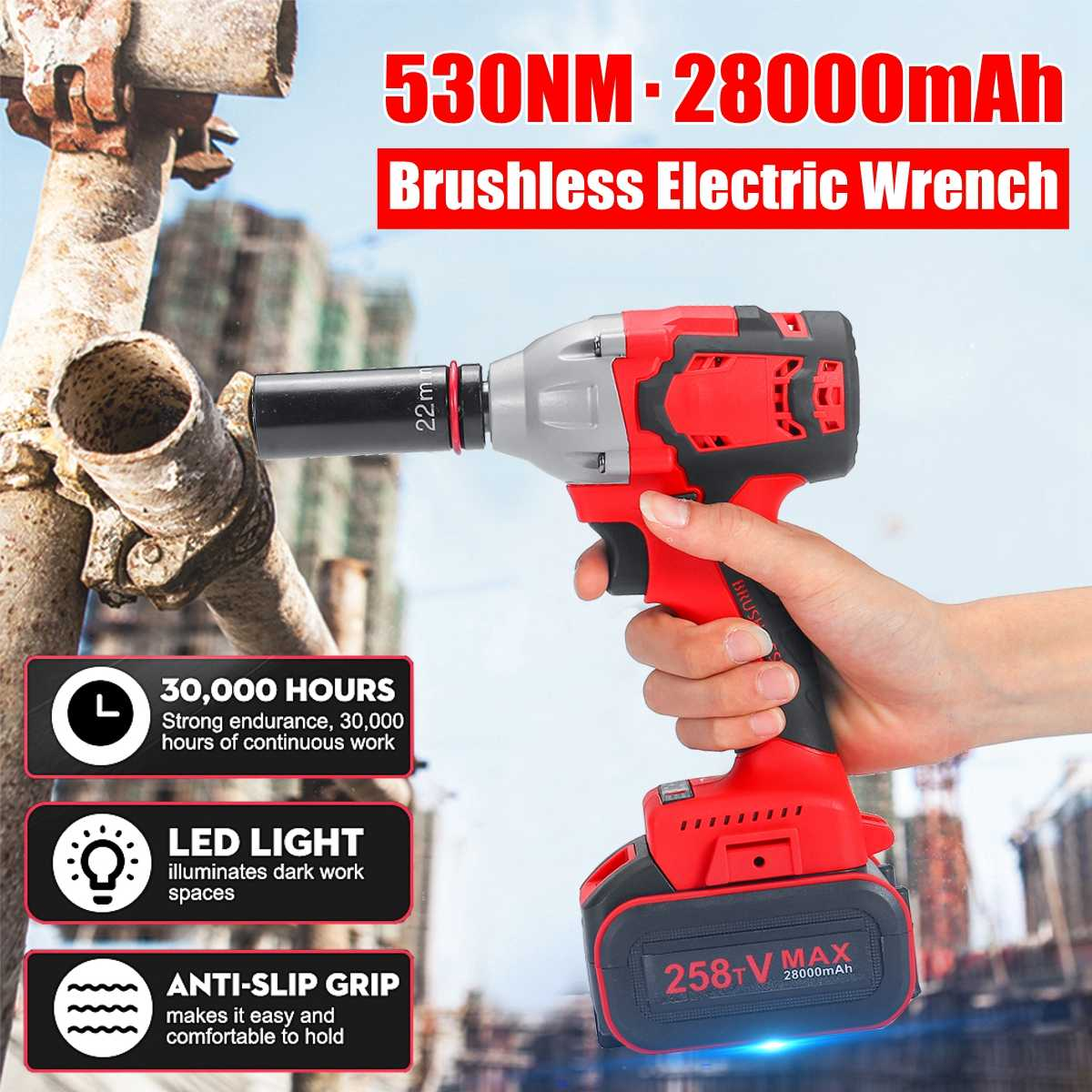 "21V 8AH Brushless Cordless Impact Electric Wrench 530Nm 28000mah Torque Household Car/SUV Wheel 1/2"" Socket Wrench Power Tool"
