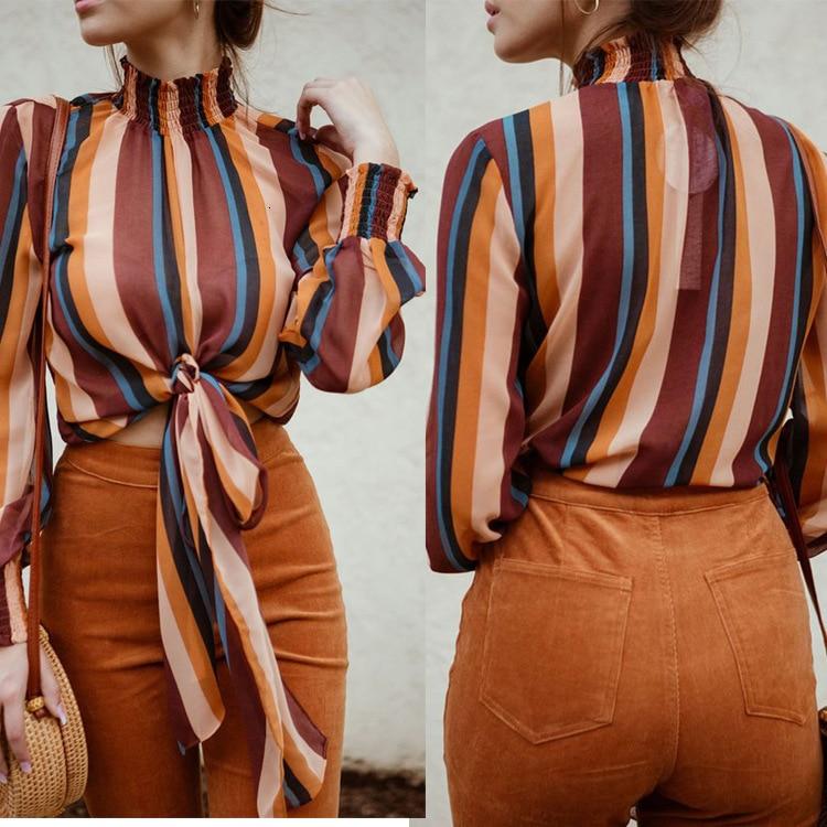 Welve Women Striped Blouse Shirt Sexy Stripe Blouse Women Autumn Long Sleeved Shirts Women's Fashion Blouses 2019