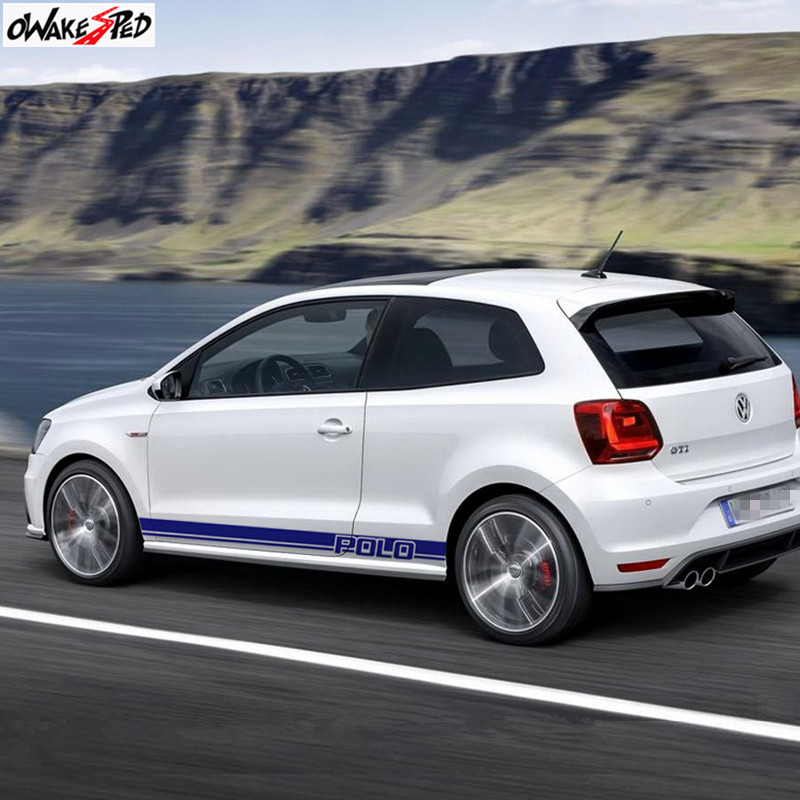 Car Door Side Skirt Sport Stripes Both Side Body Decor Sticker For Volkswagen POLO GTI-R LINE-R WRC-TSI Racing Decal Accessories (4)_副本