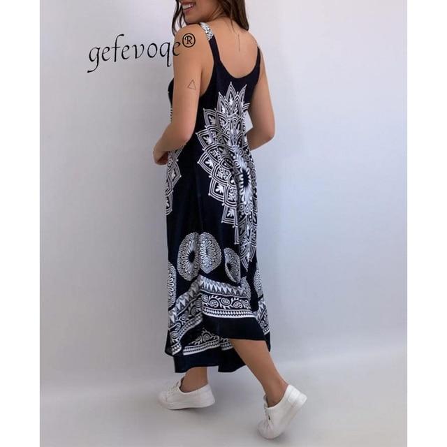 Summer Vintage Elegant Print V-neck Sleeveless Beach Party Long Dress 2021 Women Dresses Vestidos De Verano Casual Boho Sundress 2