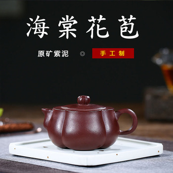 Yixing all hand recommended source of origin teapot undressed ore old purple clay haitang bud customized