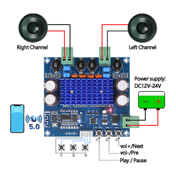 Bluetooth tpa3116d2 alta potência placa amplificador duplo canal 2*50 w bluetooth estéreo sem fio classe d amplificador módulo diy