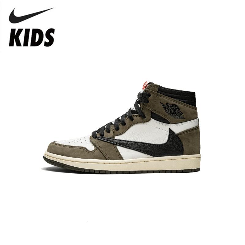 Nike Air Jordan 1 Original Kids Shoes Breathable Children Basketball Shoes Sports Comfortable Sneakers #CD4487-010