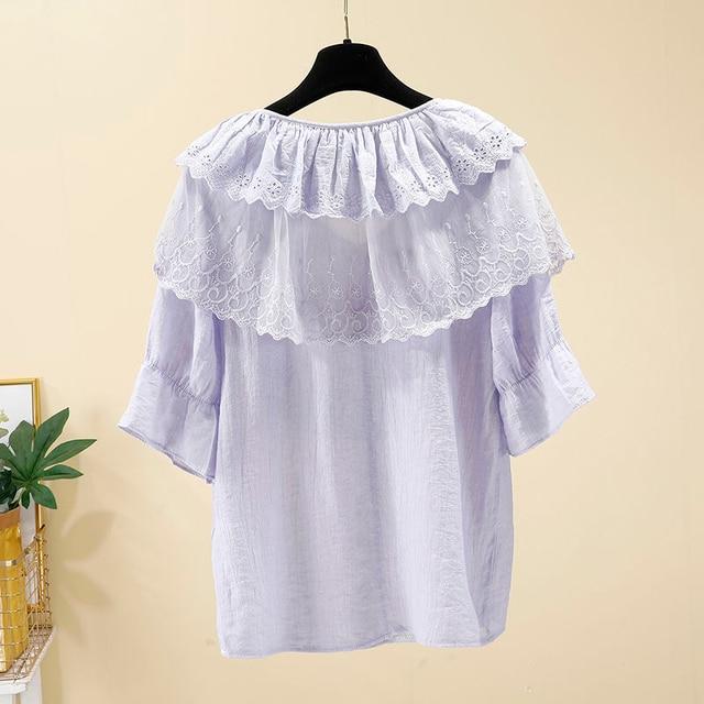 Women Spring Summer Style Chiffon Blouses Shirts Lady Casual Short Sleeve Ruffles Decor V-Neck Chiffon Blusas Tops DF3818 6