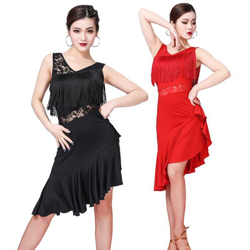 Sexy Short-sleeve Latin Dance Tassel One-piece Dress For Women/female Ballroom Tango Cha Cha Rumba Costumes