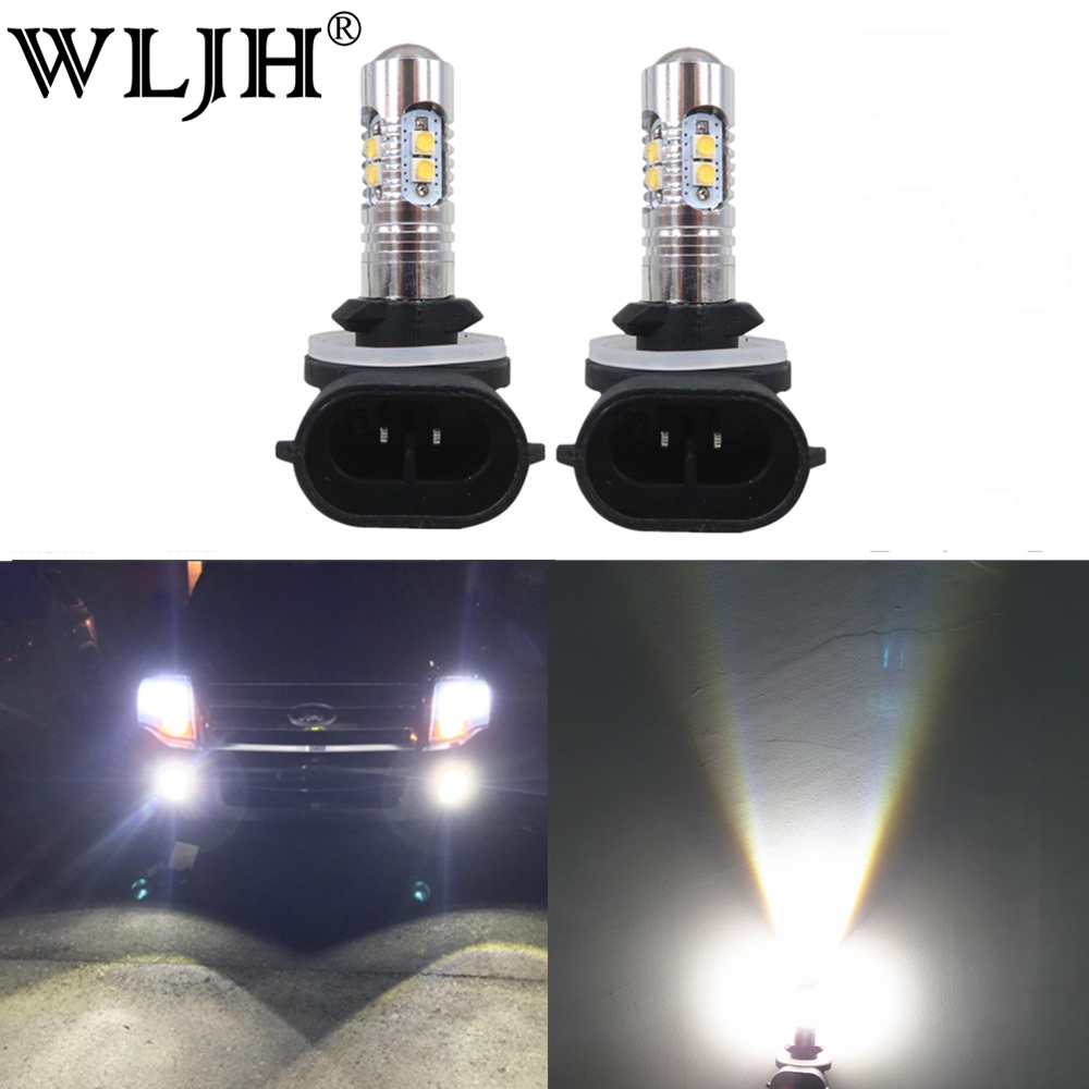 WLJH 2x High Power 800lm 881 880 H27 LED Car Bulb Auto Fog Light Driving Light DRL Daytime Running Lamp Non Polarity 6000K White