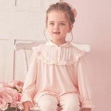 Little Princess Pajamas For Toddler Girls Long Sleeve Ruffles Pants Suit Sleepwear Baby Girls Soft Homewear Nightwear 2 Pcs/set
