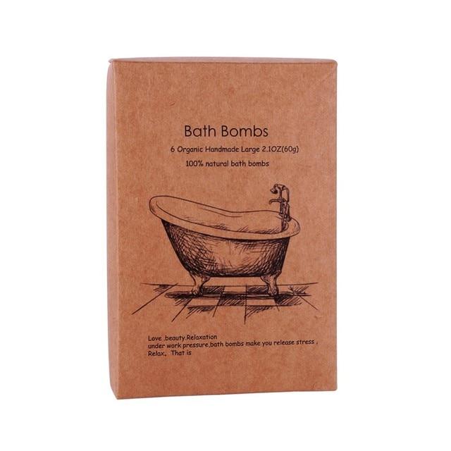 6 Pcs Organic Bath Bombs Bubble Bath Salts Ball Essential Oil Handmade SPA Stress Relief Exfoliating Mint Lavender Rose Flavor 4