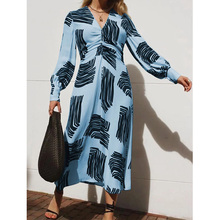 New Print Fashion Casual Dress Long Sleeve V-neck loose dresses streatwear