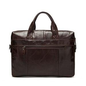 Image 2 - WESTAL sac à bandoulière en cuir véritable pour hommes, sac à épaule/fourre tout sacs pour ordinateur portable