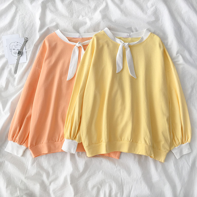 women pullover mori girls autumn spring Japanese style kawaii bow long sleeve yellow orange solid t shirt tee