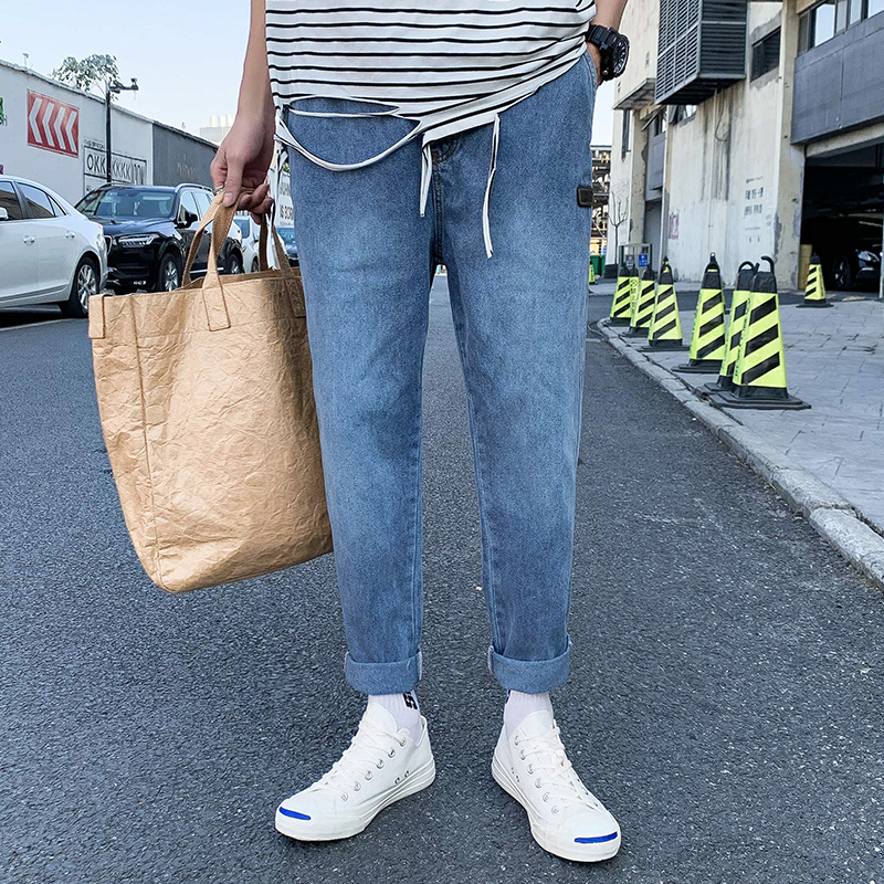 2020 Straight Jeans Pants Mens Fashion Solid Denim Pants Men Designer Trousers Casual Loose Pants Men