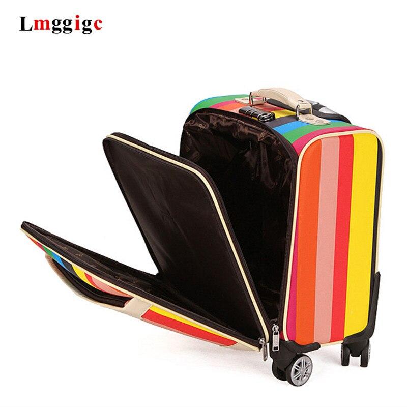 18 inch Reizen Koffer, wiel Trolley, Cabine Bagage Box, Kleurrijke Carry Op met laptop tas
