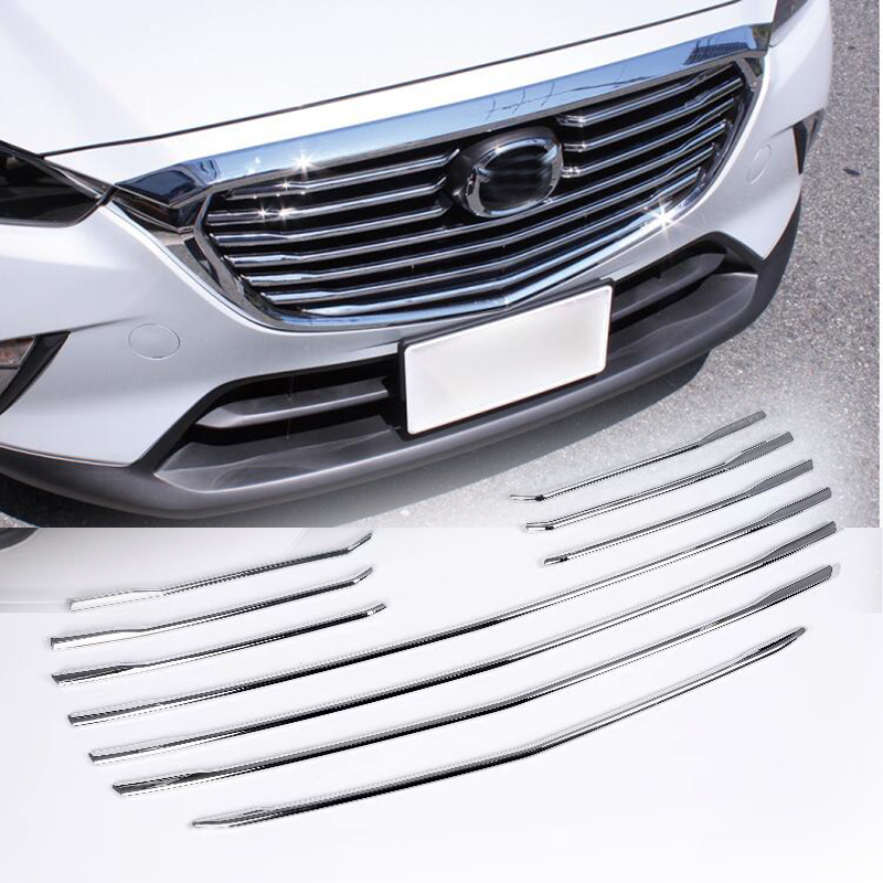 10pcs Bezel <font><b>Accessories</b></font> Bright Silver For <font><b>Mazda</b></font> CX-3 <font><b>CX3</b></font> 2016 2017 2018 Car Styling Front Grille Grill Molding Cover Trim image