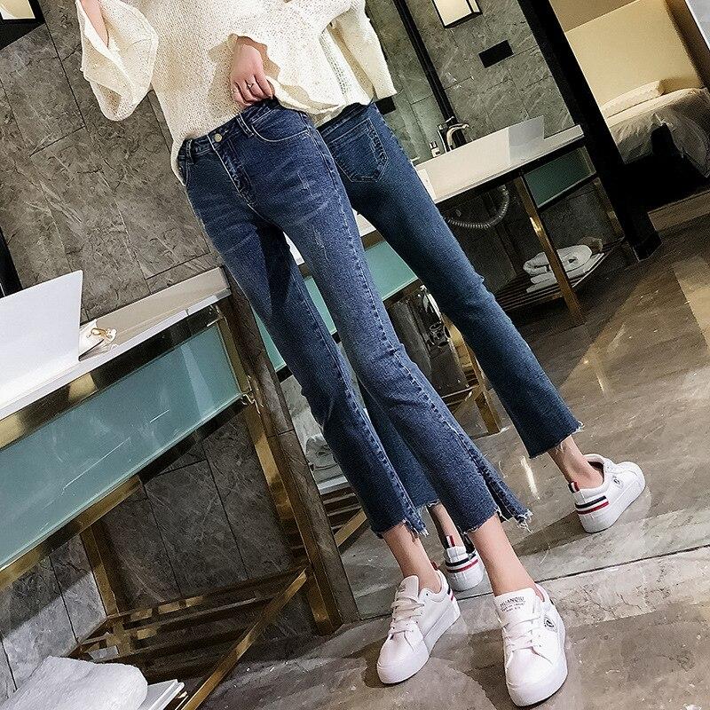 Micro Trumpet Jeans Women's Capri 2019 New Style Online Celebrity High-waisted Drape Straight-Leg Pants