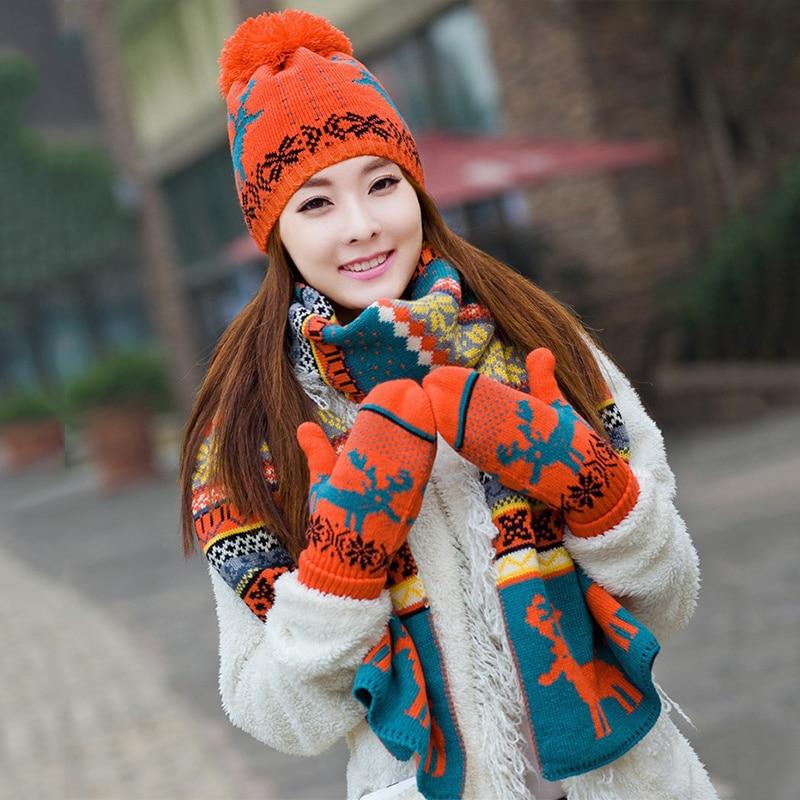 New Korean Knitting Warm Scarf Gloves Hat Set Winter Accessories For Women Birthday Christmas Gift Reindeer Thick Cap Gloves