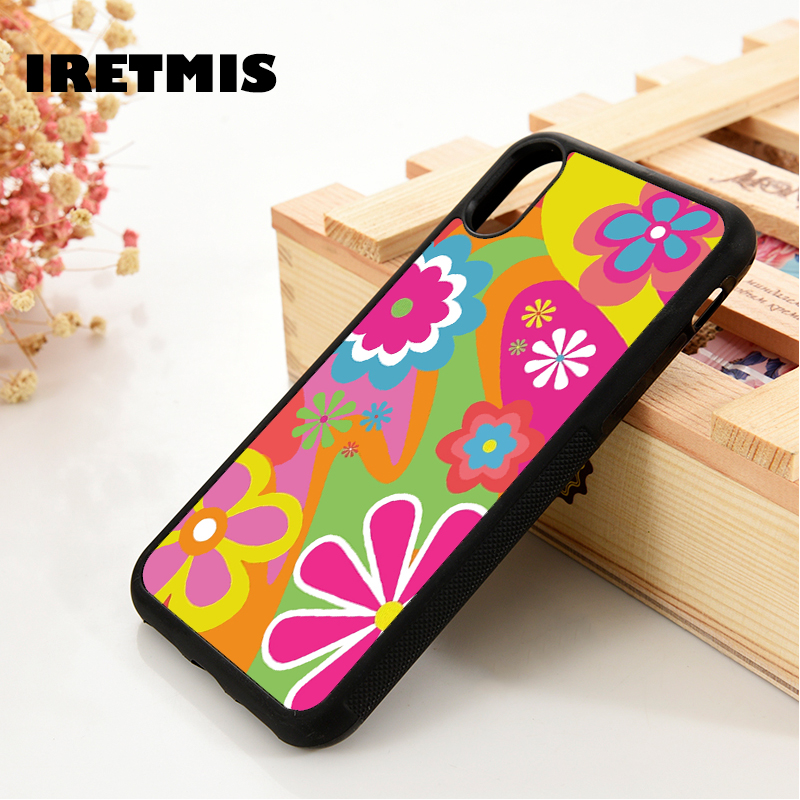 Iretmis 5 5S SE 6 6S TPU Silicone Rubber phone case cover for iPhone 7 8 plus X Xs 11 Pro Max XR Flower Power