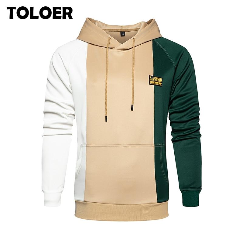 2020 Mens Hoodies Casual Patchwork Oversized Hoodie Outwear Blouse Hooded Sweatshirt fashion Hip Hop loose Pullovers Tops Hoody