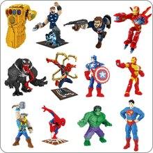 BS los Vengadores de Marvel Spiderman hombre Thor Capitán América Venom Thanos superhéroe Iron Man modelo 3D diamante Mini construcción bloques pequeños de juguete