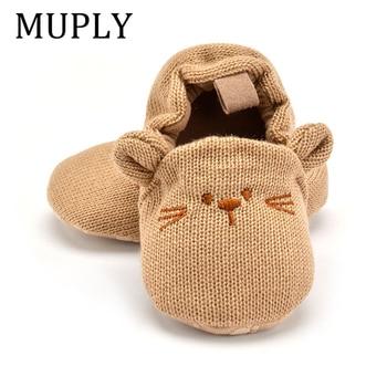 Adorable bébé pantoufles enfant en bas âge bébé garçon fille tricot berceau chaussures mignon dessin animé anti-dérapant Prewalker bébé pantoufles 1