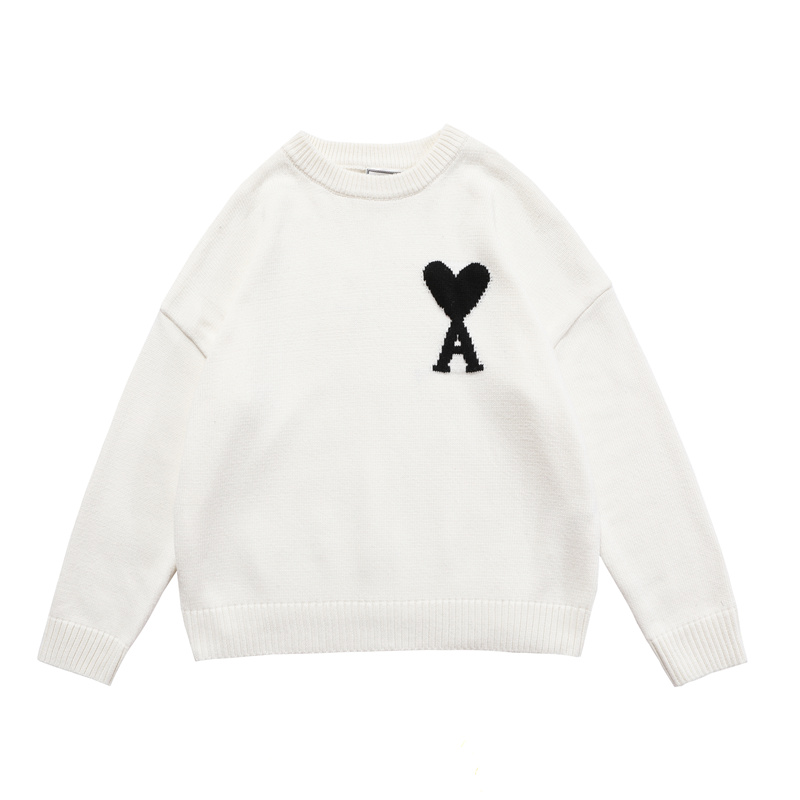 Men Women Minimalist Style Round Neck Sweater Good Quality French Peach Heart Classic Logo Sweater Streetwear 2021