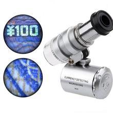 Мини 60X микроскоп светодиодный Ювелирные изделия Лупа УФ детектор валюты Портативный Лупа увеличительное стекло глаз