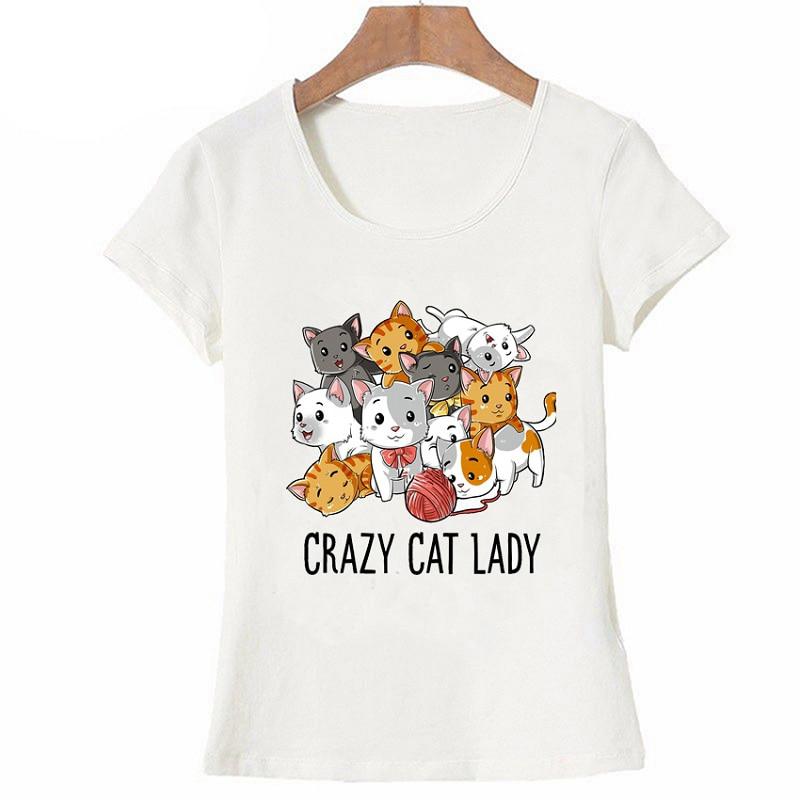 Summer Crazy Cat Lady T Shirt Funny Cats Kitty Kitten Meme Gifts T Shirt For Cat Lovers Summer Cute Woman T Shirt Cool Tops
