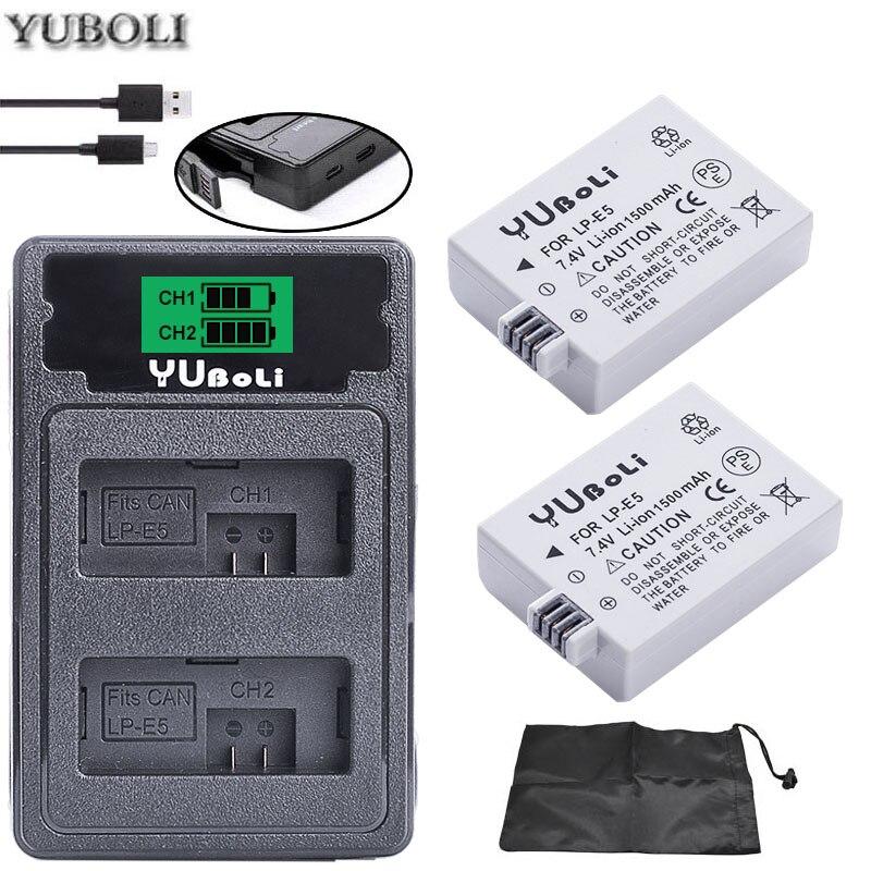 2x bateria LPE5 LP-E5 LP E5 Batterij + Dual Charger voor Voor Canon 450D 500D 1000D Kus X2 X3 F rebel XSi Xli XS