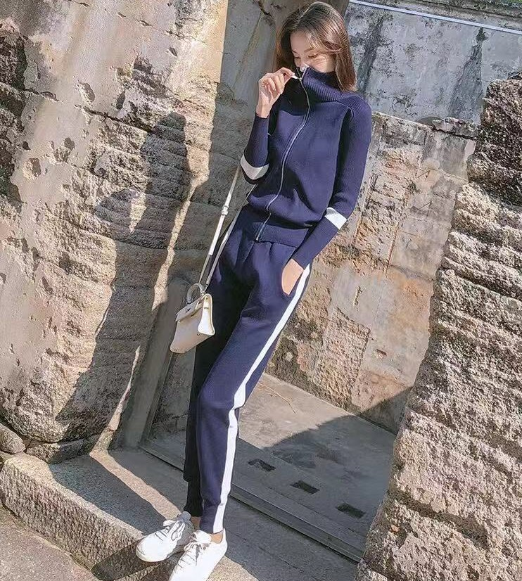 2019Autumn New Women's Fashion Casual Suit Travel Running Sportswear Long-sleeved Jacket Trousers Two-piece