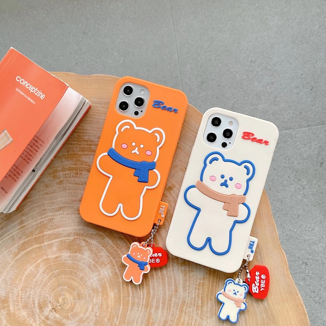 Silicone Soft Brunch Bear With Scarf Phone Case For iphone6/6S 78 Plus X/XS MAX 11/12Pro/SE Buy One Get Correspondent Ring Free 3
