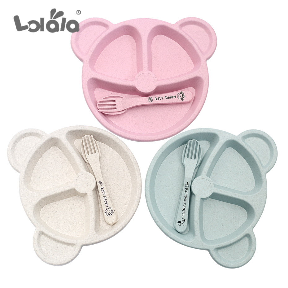 3-piece/set Of Baby Food Food Food Covered Spoon Spoon Fork Baby Bear Eat Heat-resistant Dish Plate Formation