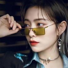 Small Sunglasses Women Luxury Eyewear Driving Rectangle Brand Narrow Frame Street-Shot