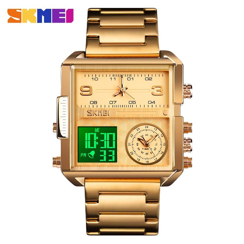SKMEI Luxury Creative Watch Men Waterproof Quartz Digital Watch Dual Dipaly Wristwatches Male Sport Clock Relogio Masculino 1584