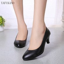 2019 spring new comfortable shallow mouth high heels Korean fashion casual black womens