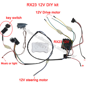 Image 1 - Children electric car DIY modified,Wires and switch kit with 2.4G Bluetooth rc and controller for baby electric car self made