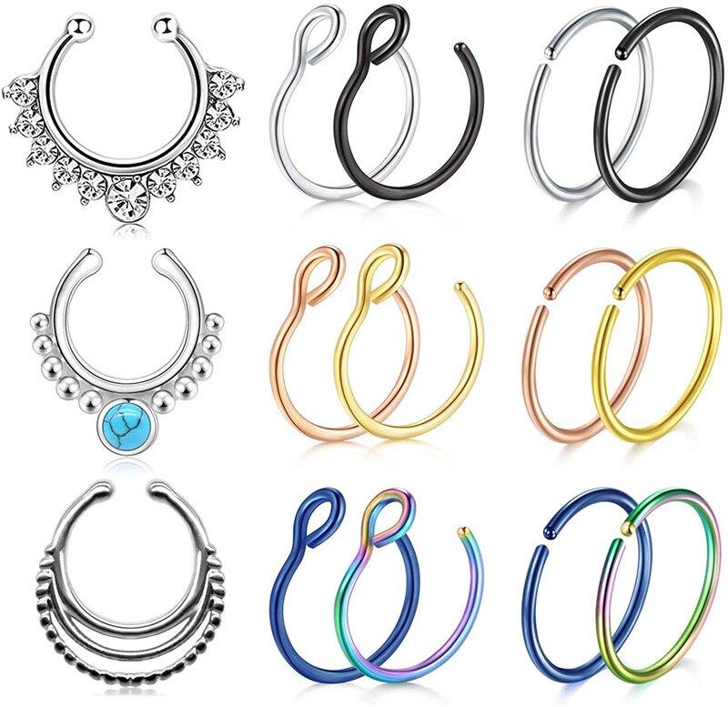 Fake Nose Ring Artificial Nose Piercing Fake Nose Ring Ring Clamped On The Ring Ring No Piercing Nostril Ring Lady Men Body Jewelry Aliexpress