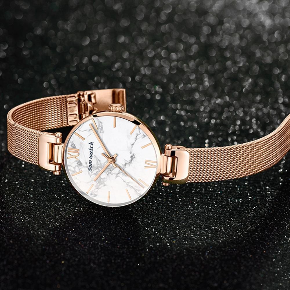 Dom Vrouwen Horloges Top Luxe Mode Vrouwelijke Quartz Horloge Dames Staal Waterdichte Klok Meisje Agaat Patroon Horloge - 2