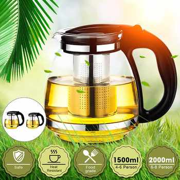 New 1500/2000ml Household Tea Glass Teapot Stainless Steel Filter Handle Heat Resistant Glass Office Coffee Pot Clear Water Kett