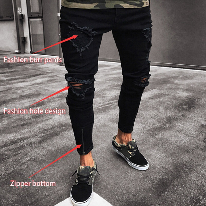 Mens Jeans Pant Skinny Fit Destroyed Jeans Cotton Demin Skinny Ripped Denim Jeans Trousers Mens Cool Designer Brand Black Jeans