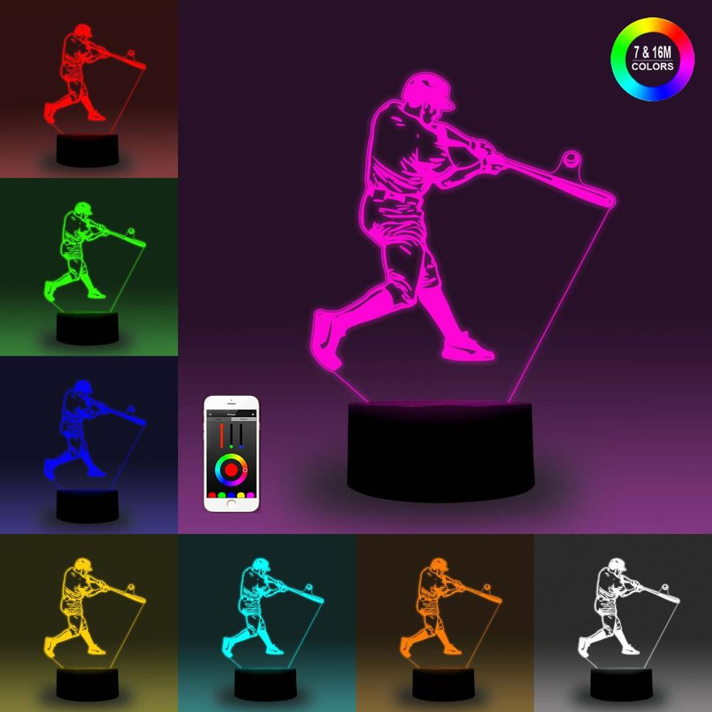 NiteApps 3D Baseball Playing Night Light Desk Table Illusion Decoration Lamp Holiday Birthday Gift APP/Touch Control