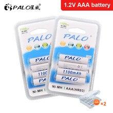 PALO 4-24 Pcs AAA 1100mAh 1.2V NI-MH Rechargeable Battery AAA 3A ni mh nimh 1.2 Volt Original High Capacity Current Batteries