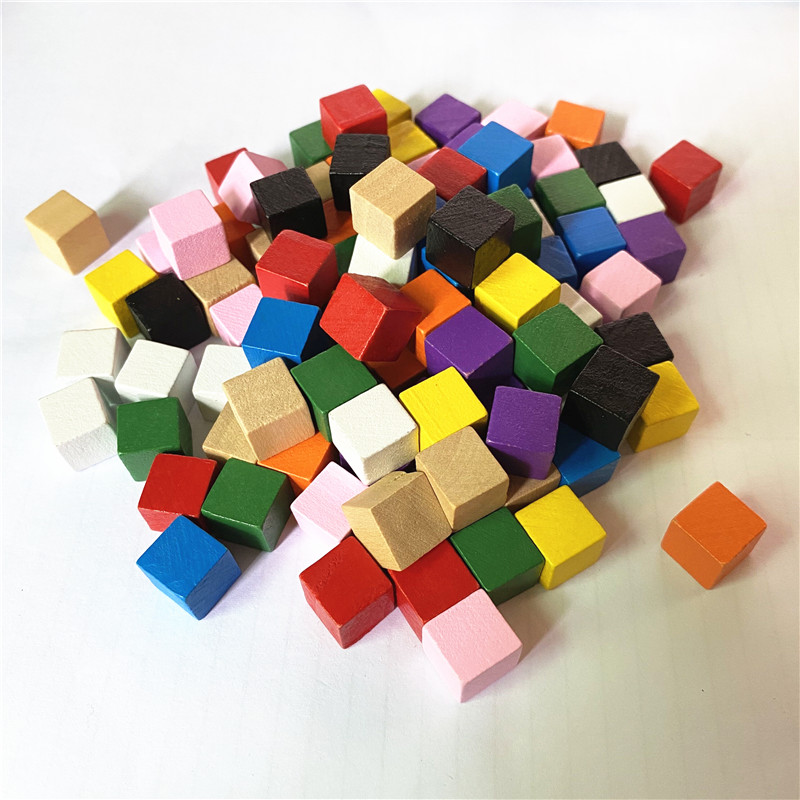500pcs/set Wood Cubes 10mm Blocks Blank Dice Square Corner Colorful Board Games Dices For Game Pieces Early Education