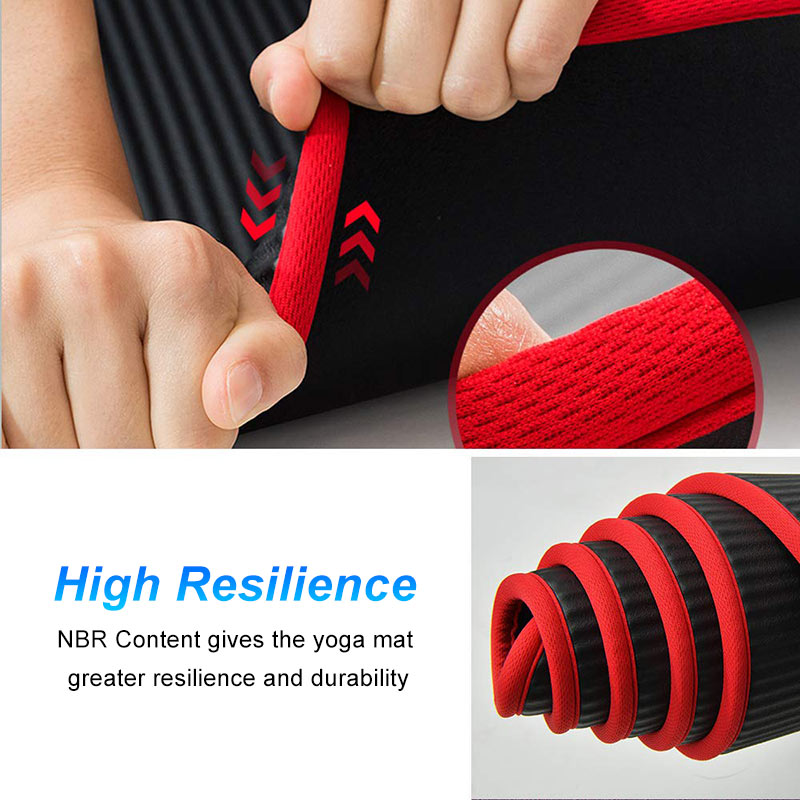 10mm Non Slip Yoga Mat 183cm 61cm Thickened NBR Gym Mats Sports Indoor Fitness Pilates Yoga