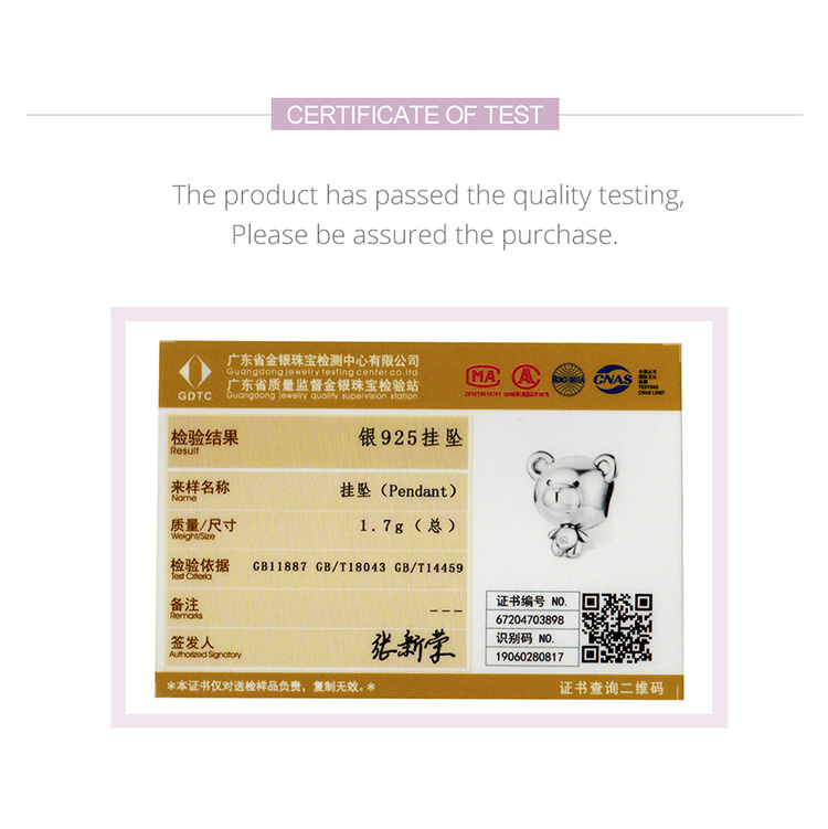 certificate Bear Toy Beads for Women Jewelry Making 925 Sterling Silver Fashion DIY Jewelry Charm for Original Bracelet