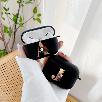 Cute Floral Gold Initial alphabet Letter AirPods Case For Airpod Pro Cases Silicon Bluetooth Earphone Cover For Air Pods 3 Funda