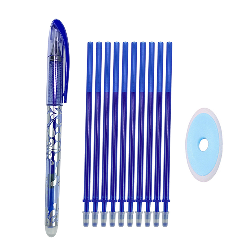 Erasable Pen Set 0.5mm Blue Black Color Ink Writing Gel Pens Washable Handle For School Office