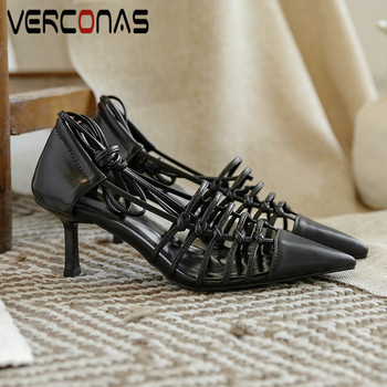 VERCONAS Retor Style Fashion Woman Sandals Genuine Leather Woman Pumps Shallow Casual Shoes Pointed Toe Thin Heels Shoes Woman