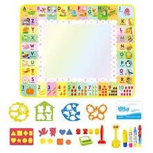 120x90cm crianças magia água desenho esteira alfabeto inglês tema doodle tapete de pintura lona cedo brinquedo educativo crianças presente